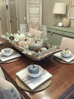 fall home decor Awesome Farmhouse Fall Decor Ideas Perfect For Any Room Model 31 Thanksgiving Table, Thanksgiving Decorations, Seasonal Decor, Table Decorations, Fall Table Centerpieces, Dinning Table Centerpiece, Fall Dining Table, Autumn Decorations, Vintage Thanksgiving