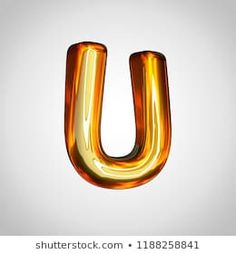 Golden letter U uppercase. render gold font with fire reflection isolated on white background Black Backgrounds, Reflection, Alphabet, Fire, Lettering, 3d, Illustration, Jewelry, Pictures
