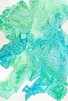 DIY Geometric Watercolor Art with Saran Wrap - Green and Blue