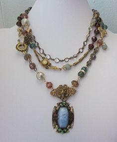 One of a Kind Repurposed Jewelry Necklace, Vintage Czech Pendant and Beads -