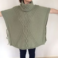 Hand Knitted Sweater Plus Size Over Size Tunic Poncho by Istanbulknit on Etsy https://www.etsy.com/listing/227721500/hand-knitted-sweater-plus-size-over-size