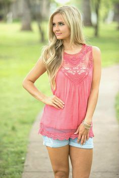 Beautiful Lace Tank Coral - The Pink Lily