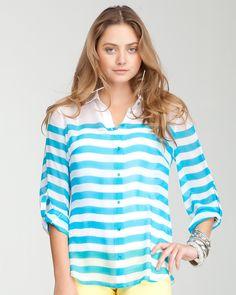 bebe | Button Up Stripe Top