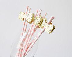 Party straws  Glitter Bow Straws  Pink Party Straws