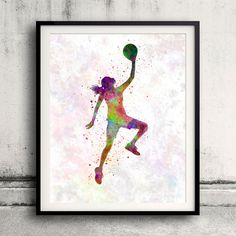 Young woman basketball player 02 - Fine Art Print Glicee Poster Home Watercolor Basket Gift Room Childrens Illustration Wall - SKU 1783 You can select the print quantity, size and finish of the print on the menu below the price. The impression is made with the highest quality standards