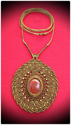 Adjustable Macrame Necklace with Red Jasper semi-precious stone and bronze beads.