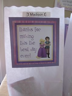 Festa Rapunzel: agradecimento