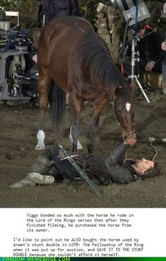 Viggo and his horse from LOTR: he bonded so closely with the horse he bought it from its owner and brought it home with him.