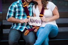 "This shot, of the couple sitting with an ""Always"" sign, is Matthews' favorite. 