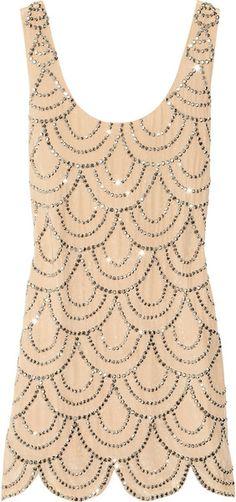 Rachel Gilbert Scala Beaded Silk Mini Dress in Pink (nude) - Lyst