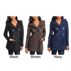 Stanzino Women's Hooded Coat with Toggle Closure | Overstock.com