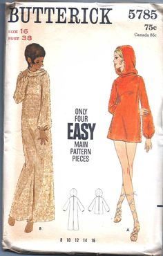 Hooded Dress Vintage Butterick Cover Up Pattern 38 by weezieduzzit, $10.00