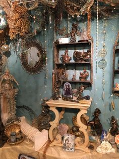 the massive altar at my local witchy shop is SO gorgeous! Witch Cottage, Witch House, Witch Room, Wiccan Decor, Aesthetic Room Decor, Witch Aesthetic, Altar Decorations, Dream Rooms, Room Inspiration
