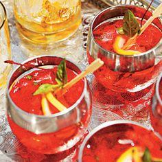 Moonshine-Cherry Blush Recipe Beverages with sugar, loos pack fresh basil leav, moonshine, grenadine, fresh lemon juice, carbonated water