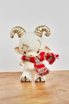 Micro munny faun in white with striped scarf