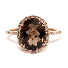 Beautiful rose gold smoky quartz and diamond ring. Hudson-Poole fine jewelers