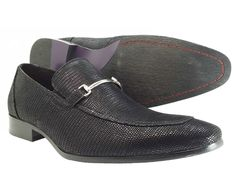 Men's Dress Shoes FRZ Black Slip On Fashion Apron Toe Mock animal Print Loafer  #FRZ #LoafersSlipOns