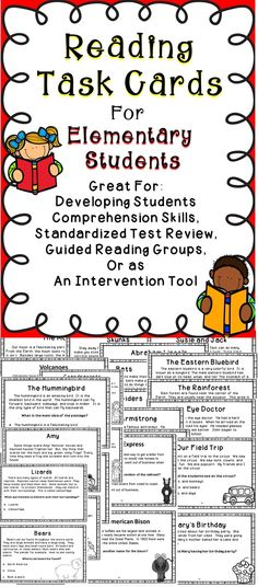 Reading Comprehension Task Cards For Elementary Students - Includes 46 Reading Comprehension Task Cards To Improve Student Achievement.