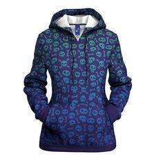 Skull Print Women's Blue Long Sleeve Pullover Hoodie #womenshoodie #skullhoodie Skull Hoodie, Skull Print, Outerwear Women, Pullover, Hoodies, Female, Coat, Long Sleeve, Casual