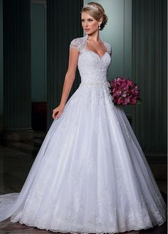 Fabulous Tulle Ball Gown Wedding Dress With Beaded Lace Appliques
