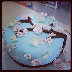 Fondant cake flowers and butterflies