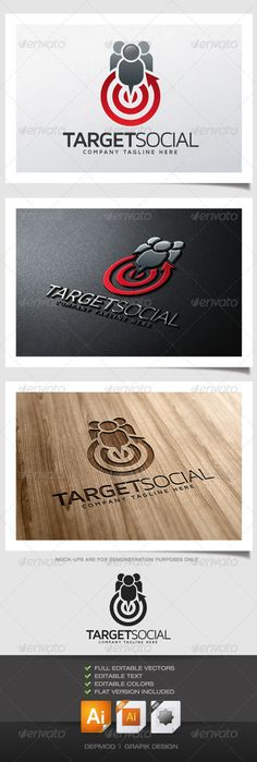Target Social - Logo Design Template Vector #logotype Download it here: graphicriver.net/...