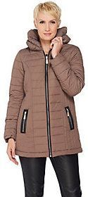As Is Dennis Basso Pillow Collar Quilted Puffer Jacket