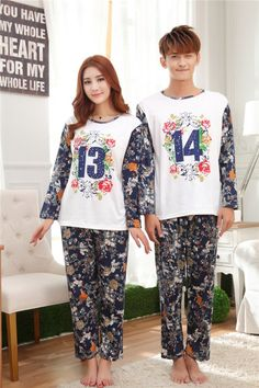 CC00539 Cartoon autumn sets long sleeve couples pajamas