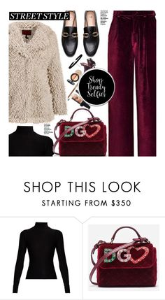 """""""Snap It: NYFW Street Style"""" by beebeely-look ❤ liked on Polyvore featuring Acne Studios, Dolce&Gabbana, StreetStyle, NYFW, velvet, streetwear and shoptrendyselfies"""