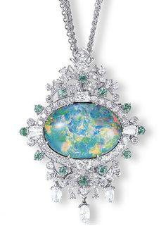 A BLACK OPAL, ALEXANDRITE AND DIAMOND PENDENT NECKLACE/BROOCH, BY MITSUO KAJI  Horizontally-set with a detachable black opal pendant weighing 19.14 carats, within a pierced pavé-set diamond and circular-cut alexandrite surround, flanked by tapered baguette and trapeze-cut diamonds, to the pierced diamond-set leaves and briolette-diamond terminals, joined to the four-row neckchain, mounted in platinum (may also be worn as a brooch), 49.0 cm long