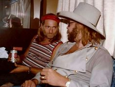 Hank Jr & Willie Nelson in Willie's bus