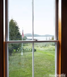 John Knott and John Fondas' Maine Summer House - Quadrille Design Interiors - Restored windows frame views of Cadillac Mountain and Acadia National Park that have barely changed since Frederic Church painted them in 1850. His canvases inspired Maine's first wave of summer visitors.