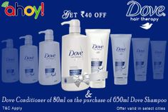 Who Else Wants Dove Shampoo Offer?  Uahoy offering Rs. 40/- off on Dove shampoo and also get Free conditioner worth 80ml. On purchase of 650ml Shampoo bottle. To get more information and coupon visit http://ads.uahoy.in/dove/?src=socialmedia