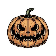 Monochrome spooky smiling Pumpkin vector illustration. Created for 21 Halloween designs collection. Each design have 3 versions: colored, B&W version for dark background, and B&W version for light background. 63 designs in total! 100% vector + editable texts. #pumpkin #drawingapumpkin #halloween #halloweendesign #halloween2020