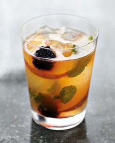 Peach and Blackberry Muddle Recipe -- a tart and fruity bourbon-based cocktail with peach and blackberry.