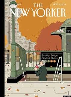 The New Yorker Cover - November 2013 Poster Print by Adrian Tomine at the Condé Nast Collection The New Yorker, New Yorker Covers, Gravure Illustration, Illustration Art, Michael Kraus, Capas New Yorker, Cover Art, City Hall Station, Magazin Design