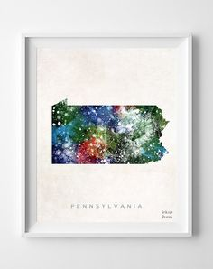 Pennsylvania Map Harrisburg Poster Painting by InkistPrints, $11.95 - Shipping Worldwide! [Click Photo for Details]