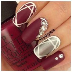 yagala #nail #nails #nailart matte red, silver and white with gemstones.  Pretty!