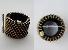 Zipper ring \/big\/black\/golden