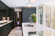 Burlanes Interiors - Classic shaker style kitchens, bespoke and handmade in Kent: Hoyden Townhouse Interior, London Townhouse, London House, Kitchen Furniture, Kitchen Interior, Kitchen Design, Kitchen Ideas, Shaker Style Kitchens, Home Kitchens