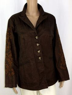 Coldwater Creek Jacket 18W Shaped Embroidered Brown Metallic  #ColdwaterCreek #BasicJacket #Casual