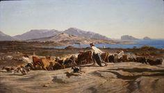 Émile Loubon, Vue de Marseille prise des Aygalades un jour de marché, 1853
