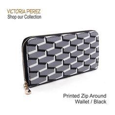 Printed Wallet DescriptionColor: Black & White /Lining:Faux Leather Zip around closure / Measurements:Approx. L 8 * H 4 * W 1 Victoria Perez Collection Bags Wallets