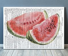 Gorgeous Fruit poster for your home and office. Amazing Watermelon decor. Adorable Kitchen print. Pretty modern Dictionary print.    SIZES: A4 (8.3