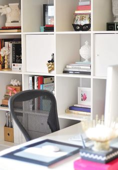 home office desk with ikea shelves by ...love Maegan, via Flickr