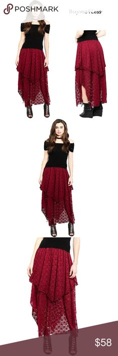 """Victorian Gothic Ruffle Lace Peasant Maxi Skirt We accept Reasonable Offer  Color: Burgundy Wine Red Material: Lined, English Embroidery Lace Product Line: Buyme4Less: Victorian Gothic  We love Punk Gothic Maxi Skirt, Soft Victorian Lace with Ruffle trim in details, Gypsy Asymmetric Hem, Layer Flare, Stretch with elastic waistband, Comfortable fit. So Sexy & So Stylish in modern fashion.  ** Waistline = S, M, L = 24""""~27.5"""",  28""""~30.5"""",  31""""~33.5"""" ** Total Length from waistline= S, M, L…"""