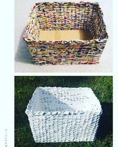 Košík pletený z papiera (maľovaný na bielo)