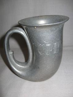 Duratale By Leonard Pewter Horn Mug Stein Tankard Italy Monogram CPD
