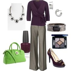 pretty office outfit for fall and winter (the green purse is cute, but I don't like it with this look)