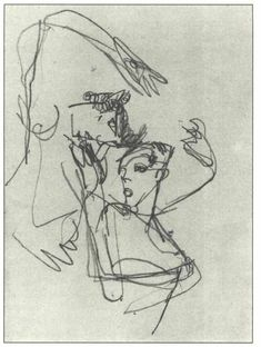 Untitled - Egon Schiele sketch and study, pencel, 1918